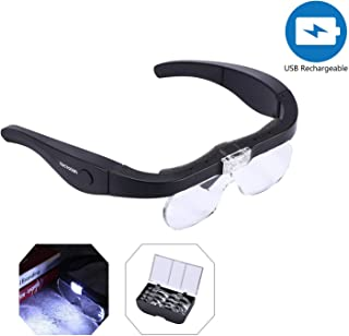 YOCTOSUN Rechargeable Head Magnifier Glasses, Eyeglasses Magnifier with 2 LED Lights and Detachable Lenses 1.5X, 2.5X, 3.5X,5X, Best Magnifying Glasses for Reading and Hobby