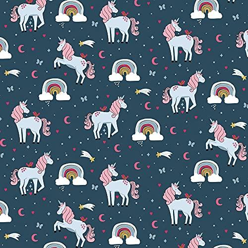 Tela de algodón de 0,5 m con unicornios, arco iris, etc. en azul   Tejido infantil