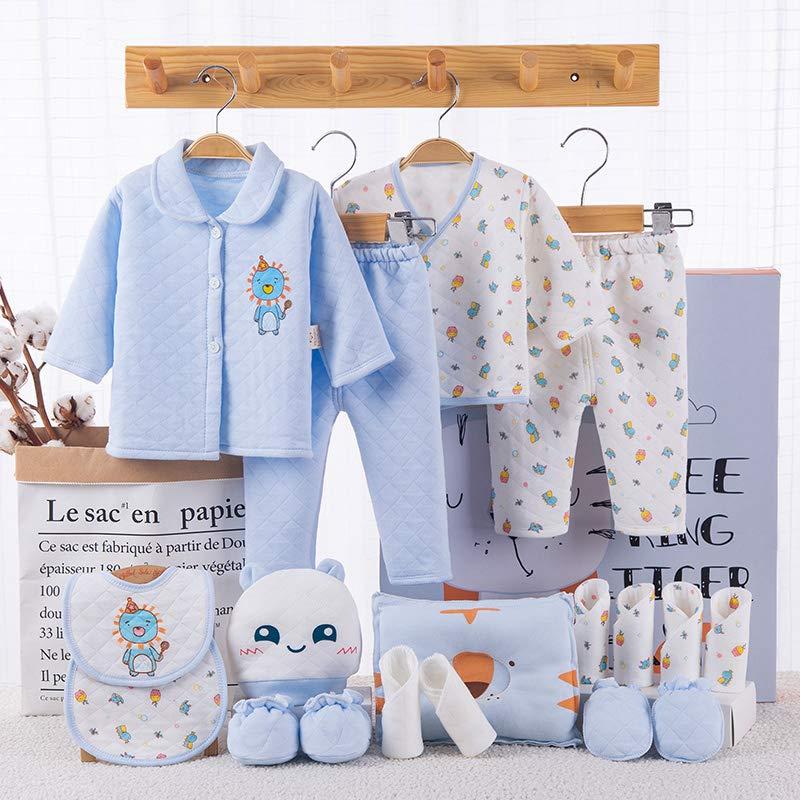 Banjvall 班杰威尔 纯棉婴儿衣服新生儿礼盒套装0-3个月6秋冬季初生满月宝宝用品礼物 加厚胖虎 (蓝色, 59码(0-6个月)