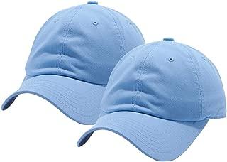 Set of 2, Cotton Dad Hat Cap Adjustable Baseball Cap Classic Plain Hat Men Women Unisex Ballcap 6 Panels Polo Style