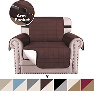 Premium Reversible Chair Cover Slip Resistant Chair Slipcover for Living Room, Water Repellant Sofa Covers for Dogs with 2 Elastic Straps, Machine Washable Furniture Protector (Brown/Beige, Chair)