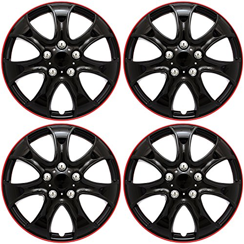 15 inch hubcaps black and red - 9