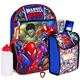 Marvel Avengers Backpack for Kids ~ Marvel Avengers 6 Piece Bundle Set Includes Deluxe 16' Backpack, Snack Tote, Water Bottle, and More (Marvel Avengers Backpack with Lunchbox)