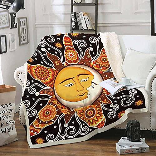 Manta de Tiro de Sol Luna 130x150cm Mullida Transpirable Manta de Sherpa para Niños Adultos 3D Impresa Manta de Microfibra Franela Extra Suave para Sala de Estar/Dormitorio/Sofá Cama