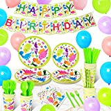 Birthday Party Supplies (Serves 16) - 146Pcs Dinosaur Party Supplies Set for Kids, Includes Birthday Plates, Utensils, Cups, Napkins, Straws, Birthday Banner, Balloons