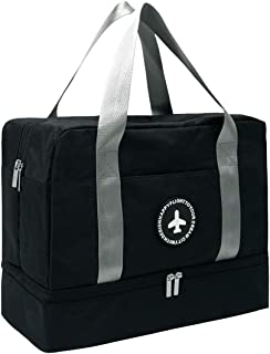 Travel Gym Sports Duffel Bag with Dry & Wet & Shoes Separate Pocket for Men and Women - black