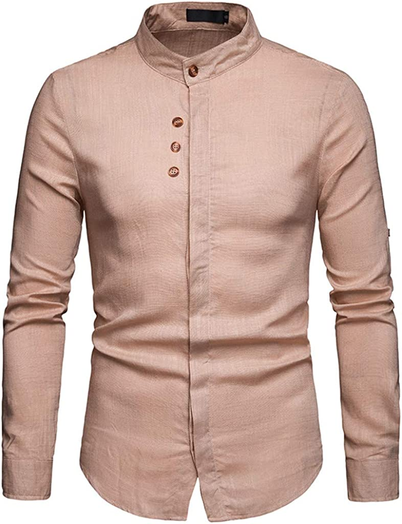 MODOQO Men's Long Sleeve Stand Collar Button Down Shirts Casual Solid Shirts
