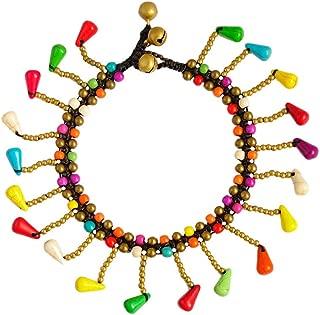 efigo Gold Anklet for Women Teen Girls Anklet Bracelet That Jingles Turquoise Beaded Bell Beach Anklets