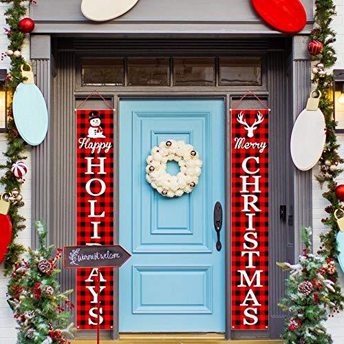 Rincr Puerta de la Navidad Banner de 2020 decoración de Navidad para el hogar Adornos de Halloween decoración de Navidad Feliz Año Nuevo 2021 (4)