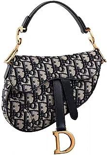 Trendy D-shape Leather Saddle Bag with Wide Shoulder Strap Leather Crossbody Purses Top Handle Handbag for Fashion Ladies