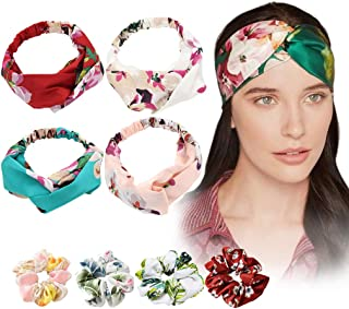 8PCS Headbands Women Knotted Turban Hair Scrunchies twist Head Wrap Boho Hair Band Ties Chiffon Floral Ponytail Holder Vintage Criss Cross Adult