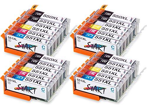 Start – 24 XL Ersatz Tintenpatronen kompatibel zu Canon PGI-550BK XL Schwarz, CLI-551BK XL Foto-Schwarz, CLI-551C XL Cyan, CLI-551M XL Magenta, CLI-551Y XL Gelb, CLI-551GY XL Grau für Canon Pixma iP8750, MG6350, MG6450, MG7150