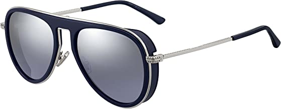 Jimmy Choo Carl PJP 96 Blue Silver Metal Aviator Sunglasses Silver Mirror Lens