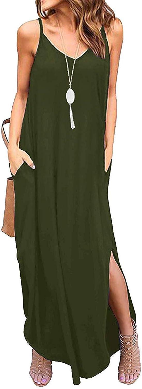 Donnalla Womens Summer Casual Loose V-Neck Dress Sleeveless Long Nightgown Spaghetti Strap Split Maxi Dresses
