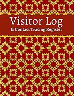 Visitor Log and Contact Tracing register: Contact Tracing register Log Book to Record Visitor Details as Required for Heal...