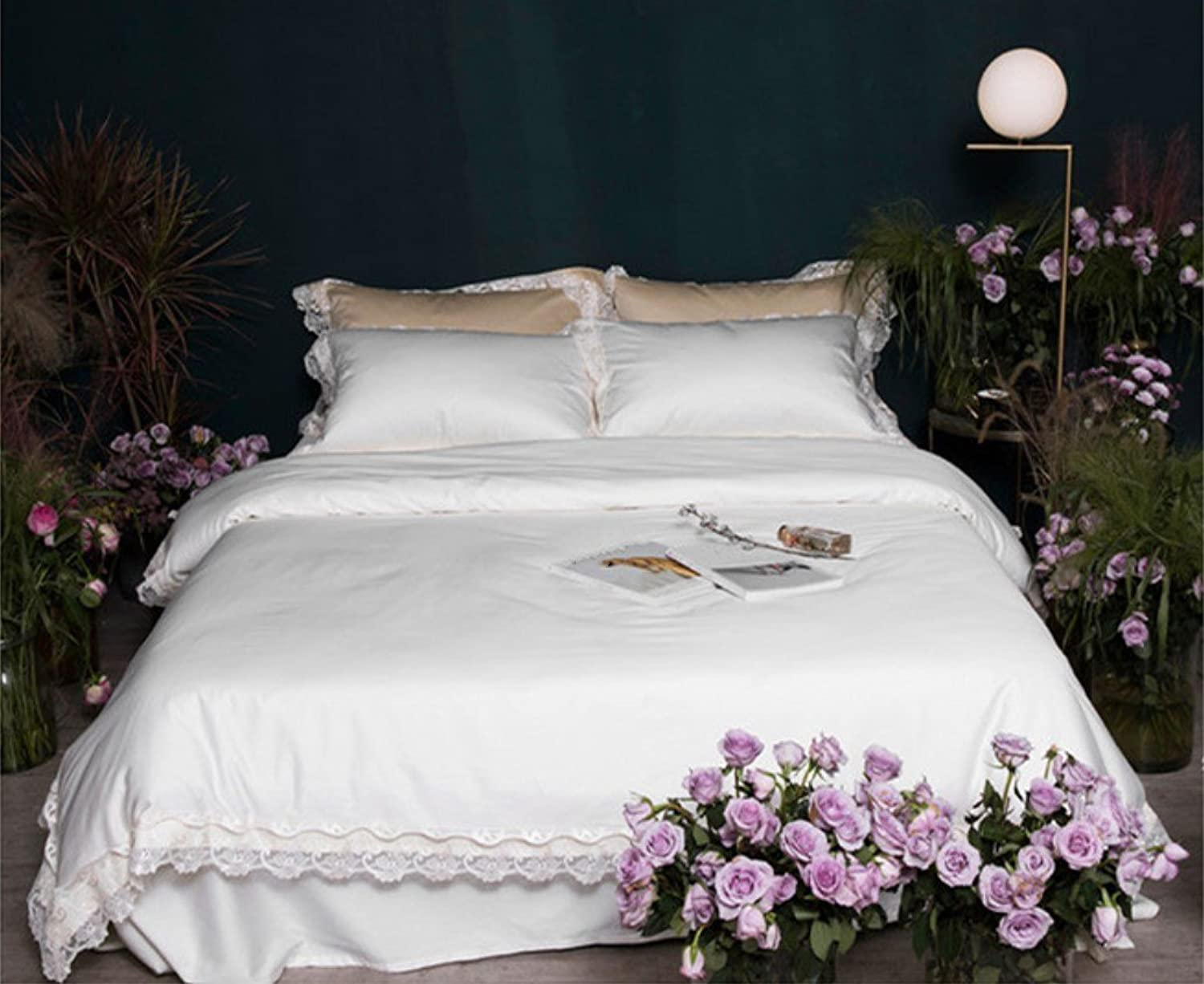 Pure color Court Embroidery Lace Four-Piece Cotton Simple Luxury Bedding Cotton Princess Wind Bed Linen ZXCV (color   White, Size   200  230cm)