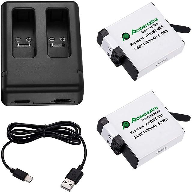Powerextra Actualizó Batería para GoPro Hero 5 Negro HERO6 Hero 7 y Cargador Doble (Compatible con el Firmware v02.00 v01.57 v01.55 y Futuras Actualizaciones)