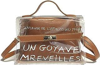 Women Crossbody Bag Letter Pattern Transparent Flap Bag Black