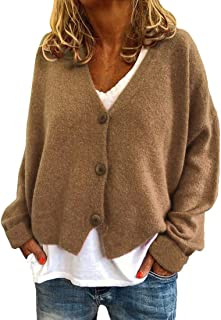 Cardigans Women Long Sleeve Button Down Knitted Sweaters V Neck Solid Color Classic Cardigan Lightweight Warm Autumn Winte...