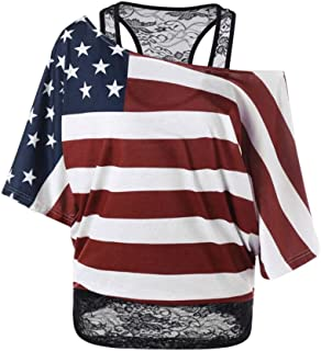 Han Shi Ladies Independence Day Star and Stripes Print T-Shirt Off Shoulder Short Sleeve Blouse Top