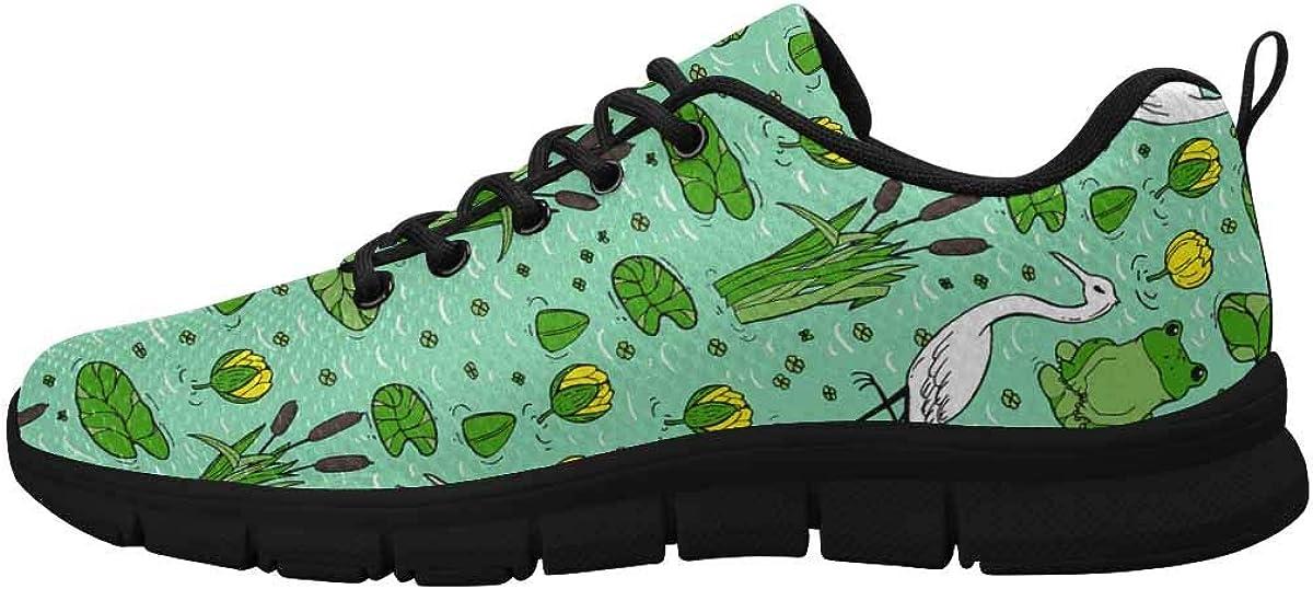 INTERESTPRINT Cranes, Herons and Lillies Women's Athletic Walking Shoes Comfort Mesh Non Slip