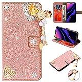 Flip Leder für iPhone SE iPhone 5S iPhone 5, Diamond Magnet Sparkle Billig Glitter Glitzer Musterg Soft Slim Bookstyle Stand Funktion Karteneinschub