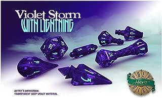 PolyHero Dice: Wizard 7 dice Set: Wizard Violet/Lightning