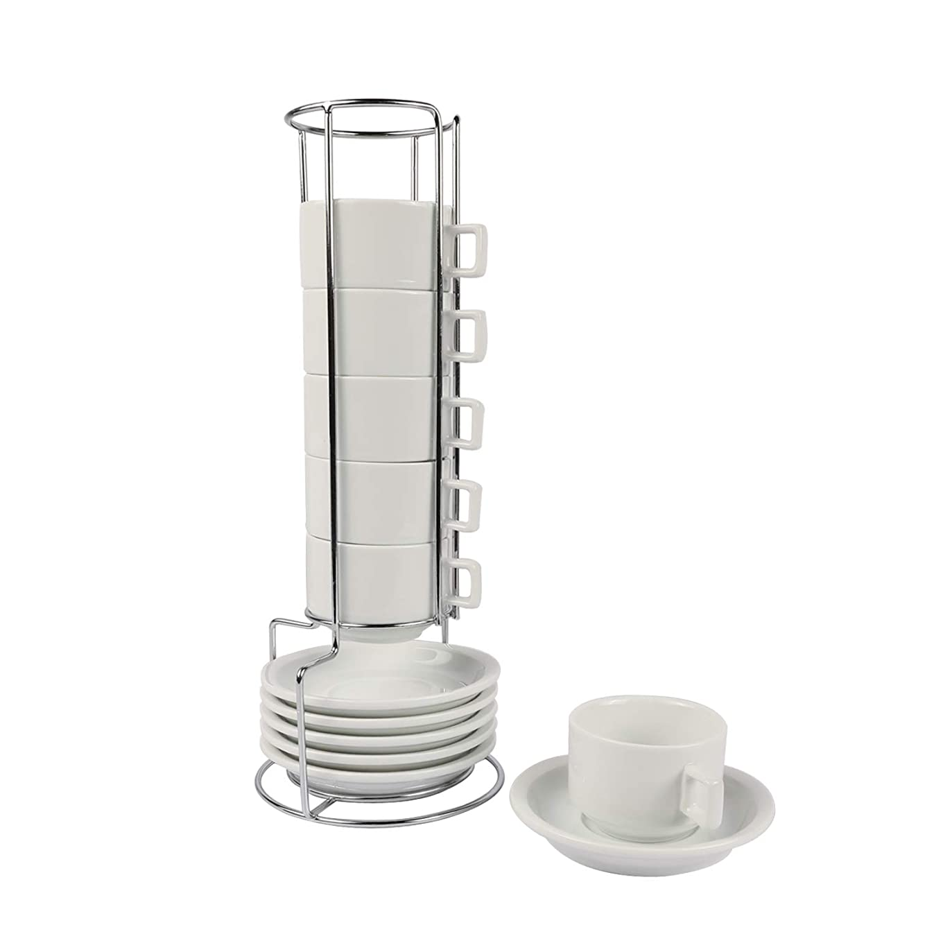 Houseables Espresso Cup and Saucer Set, Stackable Tea Cups with Metal Stand, 13 Pieces, 2.5 Ounce, White, Porcelain, Turkish Coffee Mug, Stacking Demitasse, Organizer Rack, Dishwasher Safe, Set of Six