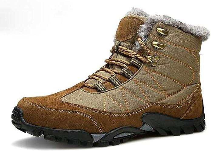 DSX Randonnée Chaussures en Plein Air Voyage Camping Bottes de Neige Hiver Chaud Chaussures de Randonnée étanche Cheville Hommes paniers, Marron, 10UK
