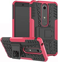 Nokia 6 2018 Case,Labanema Heavy Duty Shock Proof Rugged Cover Dual Layer Armor Combo Protective Hard Case Cover for Nokia 6 2018 Smartphone-Rose Red