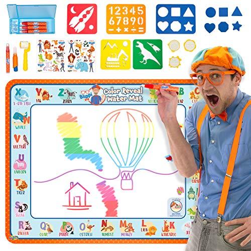 "Creative Kids BlippiWater Doodle Mat Magic Water Drawing Mat with Hidden Colors  Aqua Magic Mat for Boys and Girls – Water Coloring Mat for Kids – 395 X 315""  26 pcs– Ages 2 amp Up"