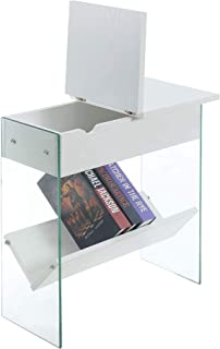 Convenience Concepts SoHo Electric Flip Top End Table, White