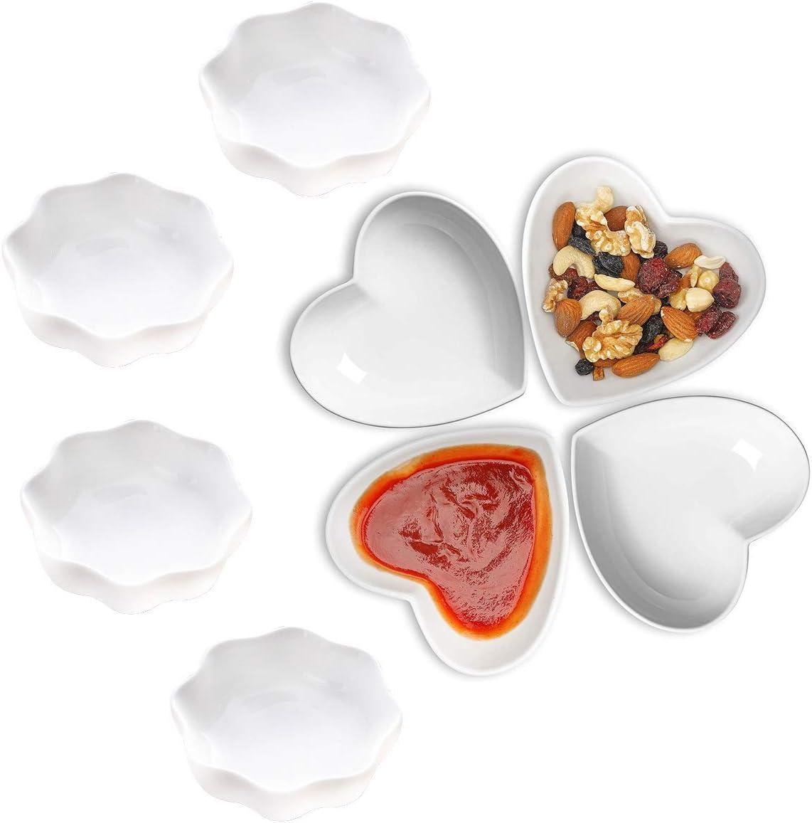 DBAILY Plato de Salsa de Cerámica, 4pcs Forma de Corazón Mini Cuencos Ceramica+4pcs Forma de Ciruela Plato de Salsa de Cerámica para Aperitivos Condimiento Salsa y Snack