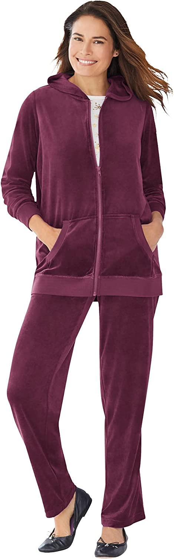Woman Within Women's Plus Size 2-Piece Velour Hoodie Set Sweatsuit