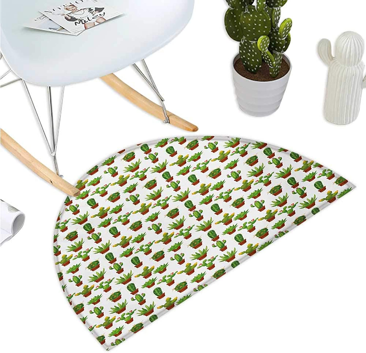 Cactus Semicircle Doormat Abstract Floral Pattern with Vases and Pots Botany Spring Season Cartoon Entry Door Mat H 43.3  xD 64.9  Green Brown Marigold