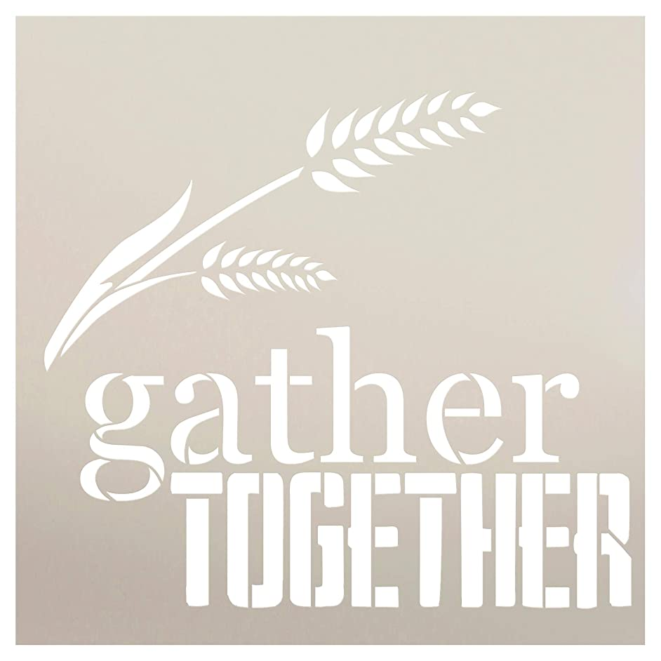 Gather Together with Wheat Strand Stencil by StudioR12 | Wood Sign | Word Art Reusable | Fall Decor | Family Dining | Painting Chalk Mixed Multi-Media | DIY Home - Choose Size (9