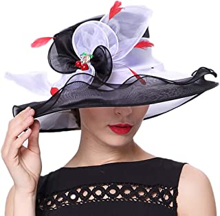 Koola Women's Organza Church Bucket Hats for Ascot Kentucky Derby Bowler Church Cloche Hat