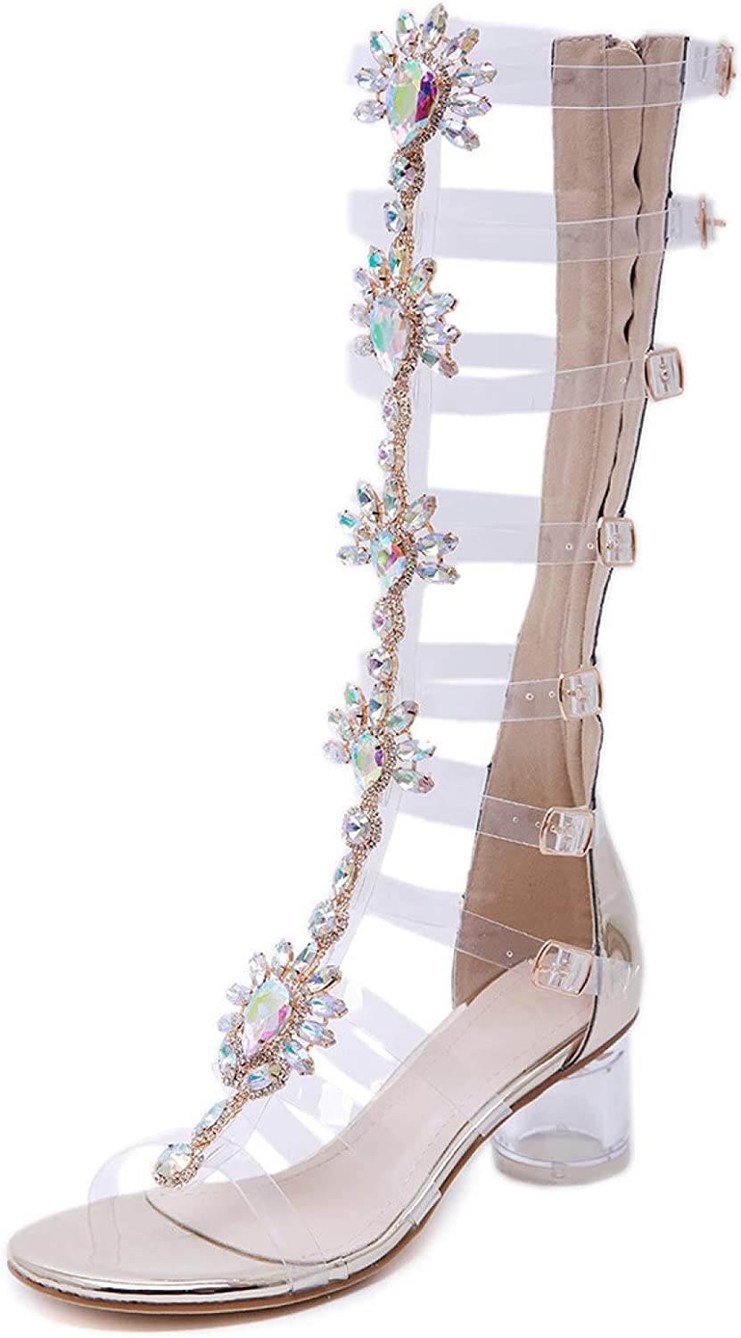 Womens Gladiator Peep Toe Knee High Bohemian Sandals Hollow Vamp Outdoor Long Boots Heels for Laides