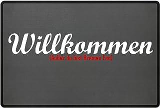 PlimPlom Fußmatte Anti Bremen in grau - Lustige Fußball Schmutzfangmatte mit Statement für Dein Zuhause aus Polypropylen mit Rutschfester Unterseite