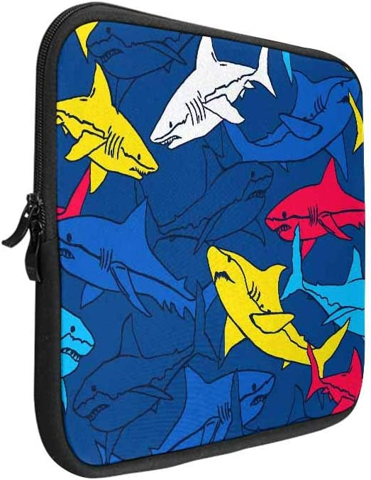 INTERESTPRINT Laptop Sleeve Case Abstract Shark Symbols Design Elements Neoprene Protective Bag 14 Inch 14.1 Inch