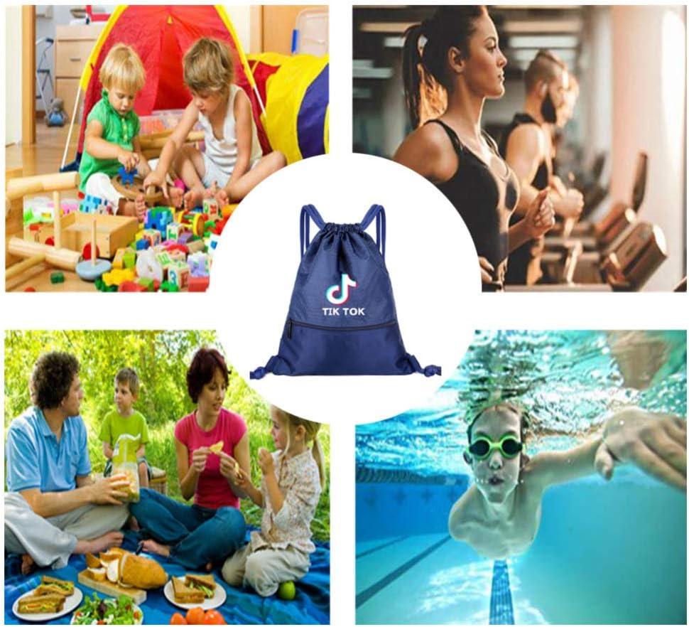 Tik Tok Sac /à Cordon de Sport Sac /à Dos de Voyage Impermeable Ultra-L/éger pour Yoga Gym Natation Camping Ecole en Oxford Sac de Gym /à Cordelette /Étanche Ultra-l/éger Pliable//blue//S