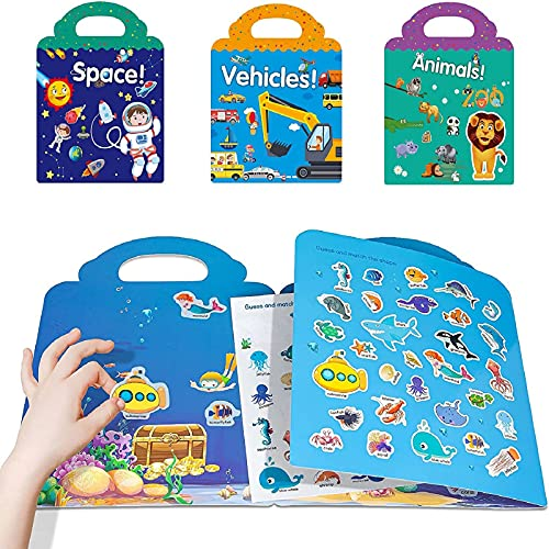 Reusable Static Sticker Books Cute Window Clings, Window Stickers Paint Art Decorations Kit, Kid's Sticker Play Set Thick Gel Clings Removable Window Clin (D)