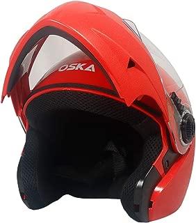 Steelbird SB-41 Oska Classic Flip Up Helmet Full Face Bike Riding Helmets For Man(620MM XLarge, Classic Red With Plain Visor - Geared With Flip Up Down Feature -Aerodynamics Design)