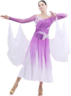 Smarts Dance Womens Sexy Ballroom Modern Dance Dress Purple:sk-bd10