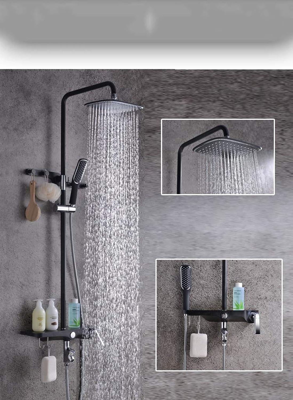 LHW Shower Set chset, High schwarz, Kunststoff Shell Plus Kupfer Krper, Multifunktions, Handbrause