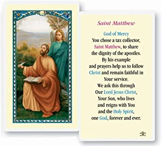 Saint Matthew The Apostle Patron Saint of Accountants and Bankers Blessed Laminated Italian Holy Card with Gold Accents