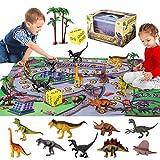 SHANNA Juguete Dinosaurio, Dinosaurio Coche Figuras Dinosaurios Juego Educativo Dinosaurios con tapete para Juego Dinosaurios para niños niñas, cumpleaños (Juego Dinosaurios)