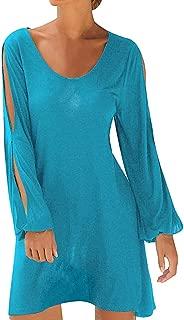 Boho O Neck Dress - Fashion Women Casual Hollow Out Sleeve Straight Dress Solid Beach Keyhole Style Mini Dress