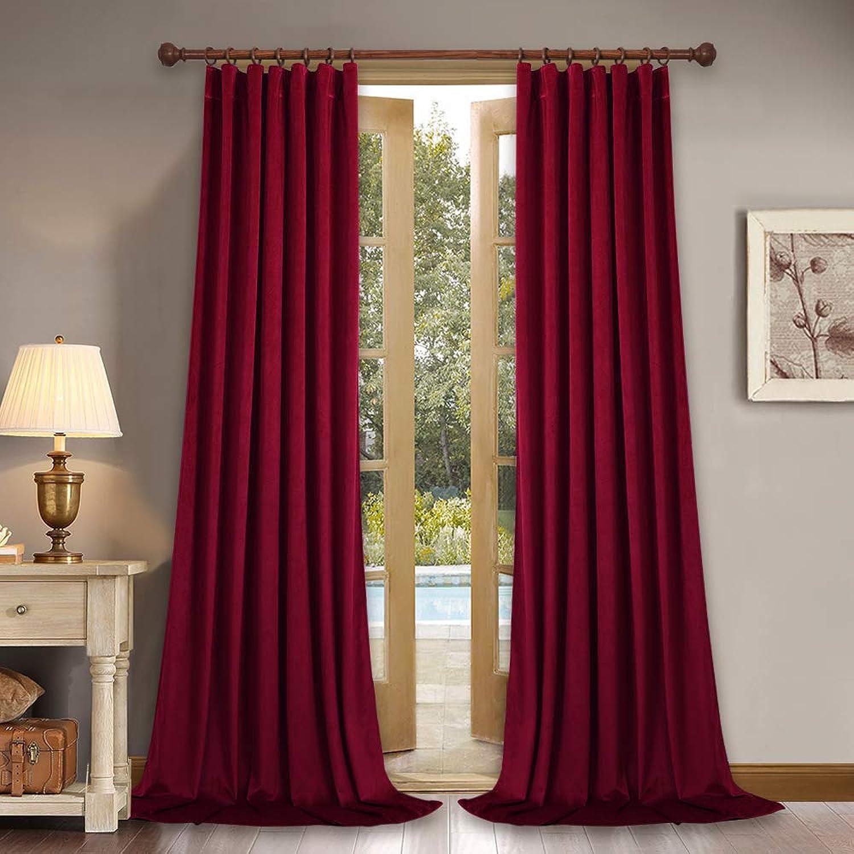Home Theater Velvet Curtains 84-inch - Silky Soft Velvet Drapes Light Blocking Sound Dampening Panels for Master Bedroom, 52  x 84 , Set of 2 Panels