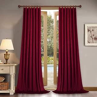 StangH Luxury Red Velvet Curtains - Back Tab Design Thick Heavy Velvet Drapes Room Darkening Panels for Living Room/Holiday Fete, W52 x L96-inch, Each Panel, 2 Pcs